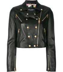 dolce & gabbana studded leather biker jacket - black