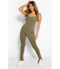 petite square neck split hem jumpsuit, light khaki