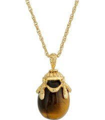 2028 14k gold plated semi precious tigers eye egg pendant necklace