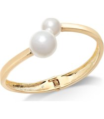 inc gold-tone & imitation pearl bangle bracelet, created for macy's