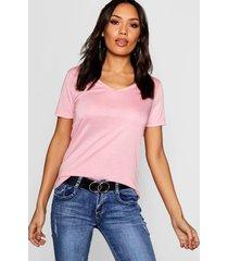 basic super soft v neck t-shirt, blush