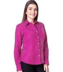 camisa de poá rosê blush feminina manga longa adry - feminino