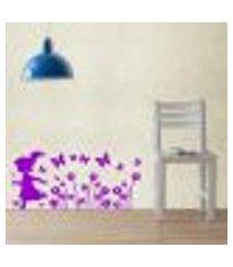 adesivo de parede cartelas menina correndo nas flores - es 67x150cm