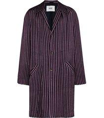 bode mashroo striped mid-length coat - blue