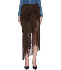 tie waist fringe suede skirt