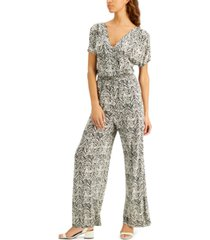 inc zebra-print kimono-sleeve jumpsuit, created for macy's