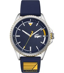lacoste men's cap marino blue silicone strap watch 44mm