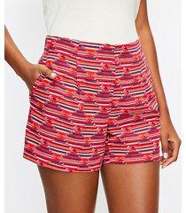 loft petite pleated pull on shorts in ikat