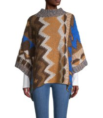 free people women's timber trail poncho - timber combo - size s
