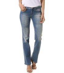 calça bloom jeans reta judy delavê feminina
