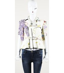 alexander mcqueen beaded embroidered floral leather jacket cream/purple sz: xs