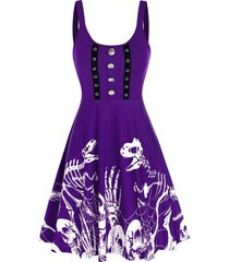 button skeleton print fit and flare gothic dress