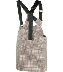 junya watanabe checked buckled-strap skirt - neutrals