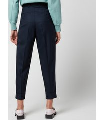 ami women's tapered fit trousers - navy - fr 40/uk 12