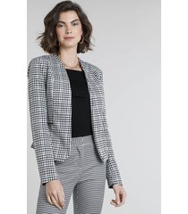 blazer feminino estampado xadrez vichy com zíper off white