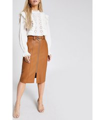 river island womens petite brown faux leather midi pencil skirt
