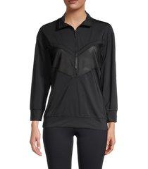 alala women's popover track jacket - black - size s