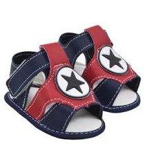 sandália masculina courino azul marinho vermelho estrela (p/m/g/gg) - baby soffete - tamanho p - azul marinho,vermelho