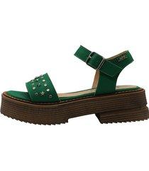 sandalia de cuero verde leblu