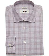 joseph abboud burgundy windowpane plaid modern fit dress shirt