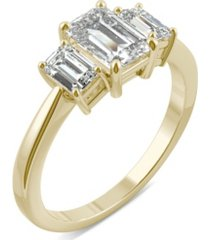 moissanite emerald cut three stone ring 1-1/2 ct. t.w. diamond equivalent in 14k white or yellow gold
