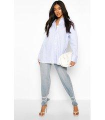 cotton stripe oversized shirt, blue