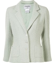 chanel pre-owned 2003 woven slim-fit blazer - green