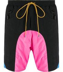 rhude contrast panel swim shorts - black