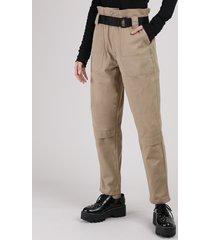 calça de sarja feminina clochard cintura super alta com cinto kaki