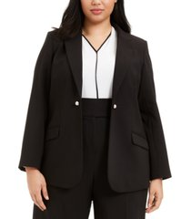 calvin klein plus size button-trim open-front blazer