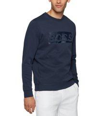 boss men's slim-fit printed logo sweatshirt