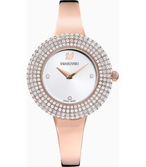 orologio crystal rose, bracciale di metallo, bianco, pvd oro rosa