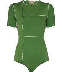 fantabody valentina leo short-sleeve bodysuit - green