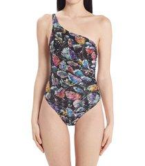 women's missoni monstera leaf one-shoulder one-piece swimsuit, size 4 us - black
