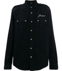 balmain corduroy military shirt - black