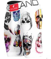 cueca boxer long leg kevland colored skulls fundo branco. - branco - masculino - dafiti
