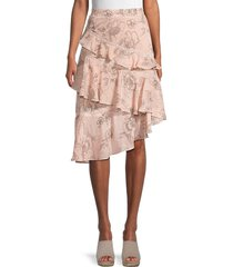 allison new york women's floral ruffle skirt - rose floral - size m