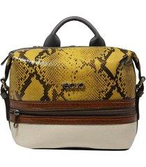 bolsa mochila de couro recuo fashion bag cinza/cobra amarelo