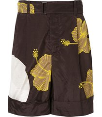 3.1 phillip lim hibiscus print deck shorts - brown