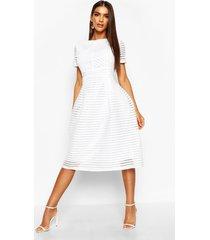 boutique full skirted prom midi dress, white
