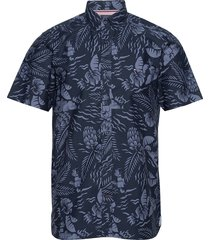 large seasonal print overhemd met korte mouwen blauw tommy hilfiger