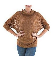 pullover sweater, 'evening flight in copper' (peru)