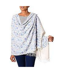 wool shawl, 'blue flower breeze' (india)