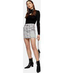 gray acid denim stretch mini skirt - grey