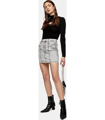 grey acid denim stretch mini skirt - grey
