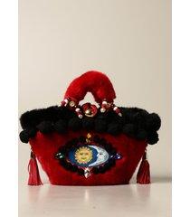 sikuly handbag cuttigghiara sikuly coffa bag with fur and pompon