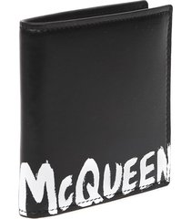 alexander mcqueen black leather logo wallet