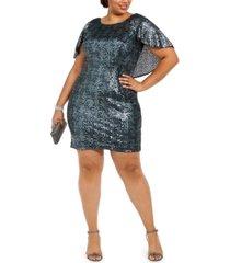 alex evenings plus size capelet sheath dress