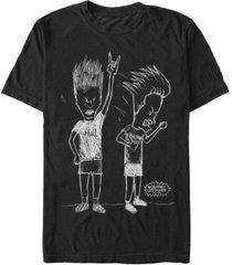 beavis and butthead mtv men's rocking' out sketch logo short sleeve t-shirt