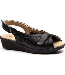 sandália anabela 196 em couro doctor shoes
